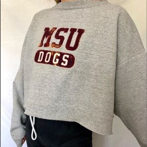 Sweaters - MSU DOGS CROPPED CREW NECK